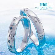 沖縄の伝統模様とブルーダイヤを取り入れたMINSAH RING(ミンサーリング)をご紹介【結婚指輪・婚約指輪のJKPlanet銀座・表参道・福岡天神】
