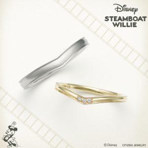 ディズニー スチームボートウィリー ハッピー フラワー マリッジリング【Disney STEAMBOAT WILLIE】