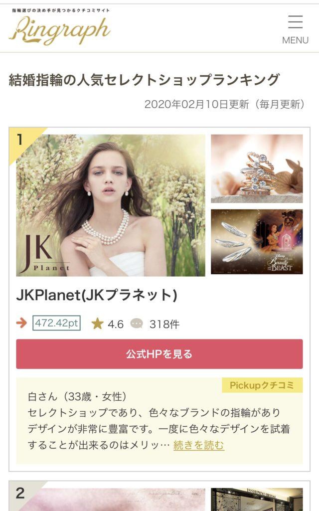 結婚指輪人気口コミサイト『リングラフ』でJKPlanetが全国1位獲得!