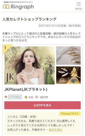 Ringraph(リングラフ)の結婚指輪・婚約指輪セレクトショップランキングでJKPlanetが1位!