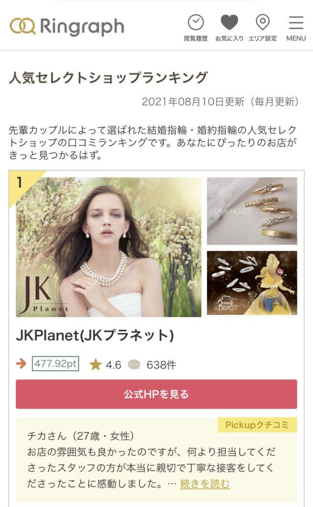 婚約指輪・結婚指輪のセレクトショップの口コミランキングでJKPlanetが1位になりました。